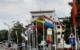 Fahnen am Luitpoldplatz in Bayreuth. Bild: Jürgen Lenkeit