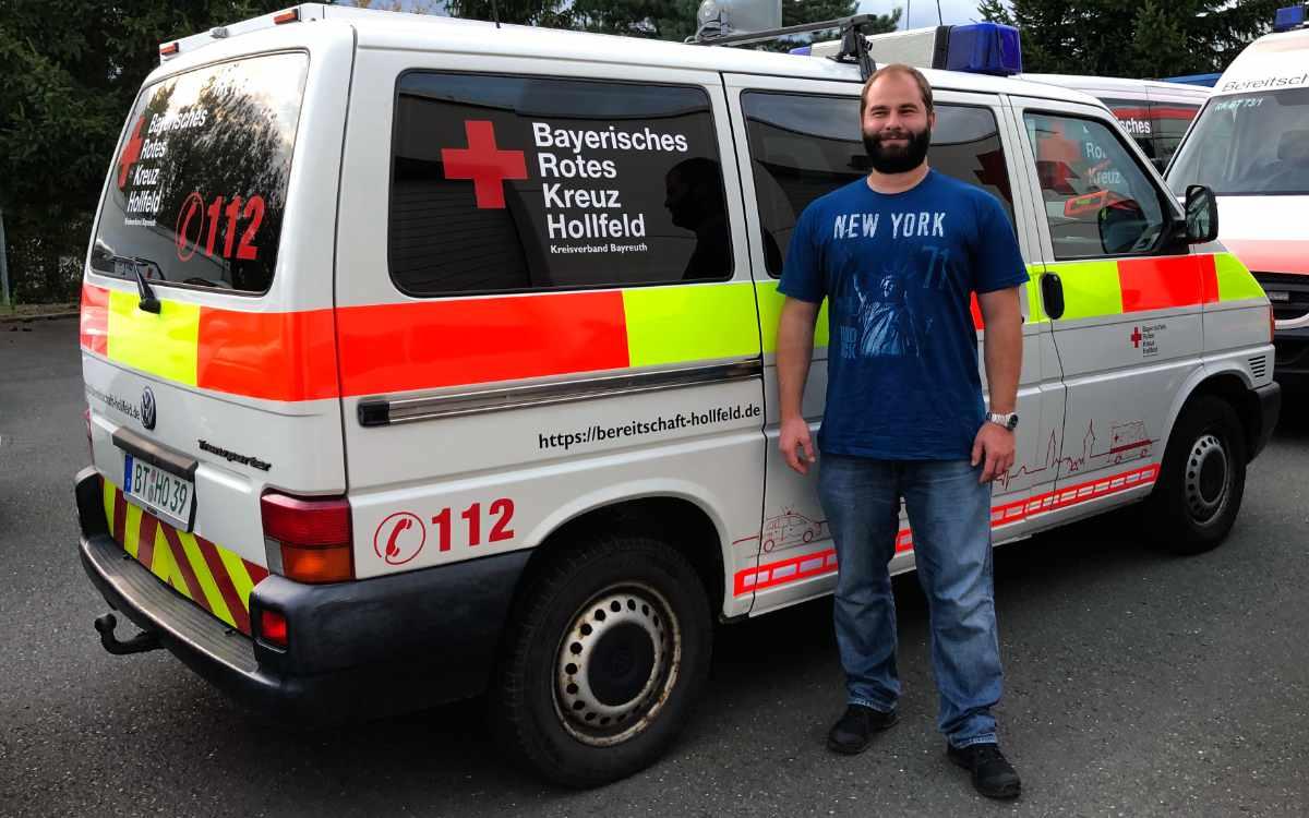 BRK-Helfer bei der Flutkatastrophe im Ahrtal: Marco Schreck, Bereitschaftsleiter der Ortsgruppe Hollfeld, half sechs Tage lang im Ahrtal. Bild: Jürgen Lenkeit