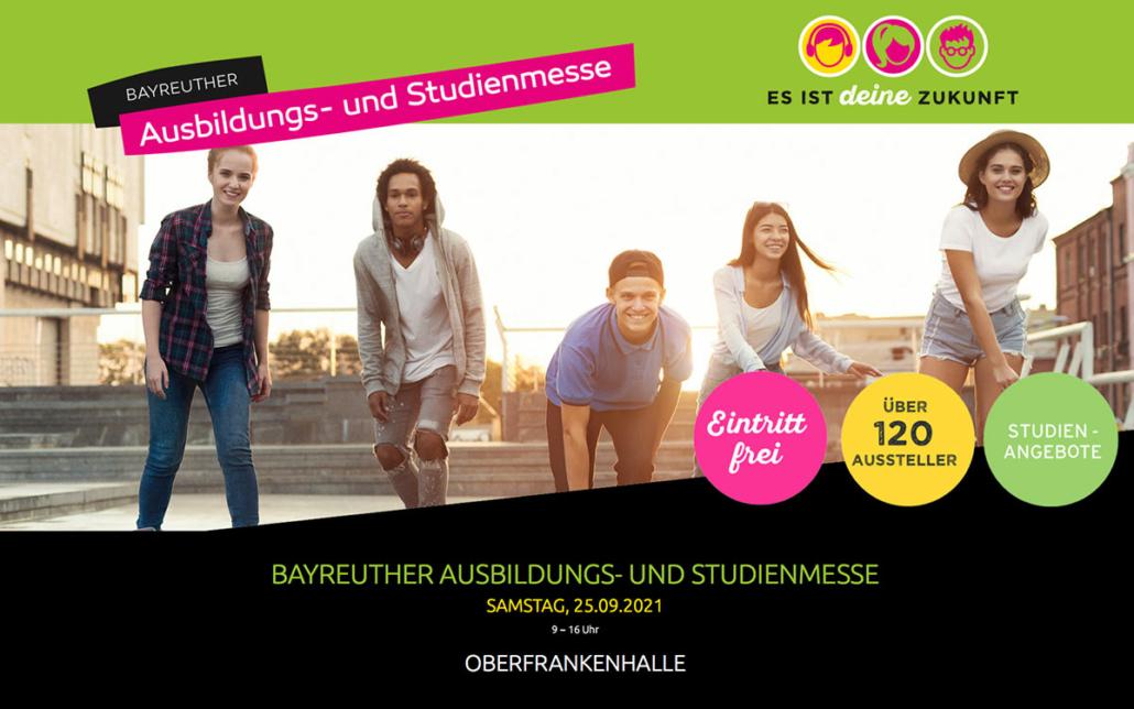 Die Ausbildungs- und Studienmesse in der Oberfrankenhalle findet am Samstag, den 25. September 2021 statt
