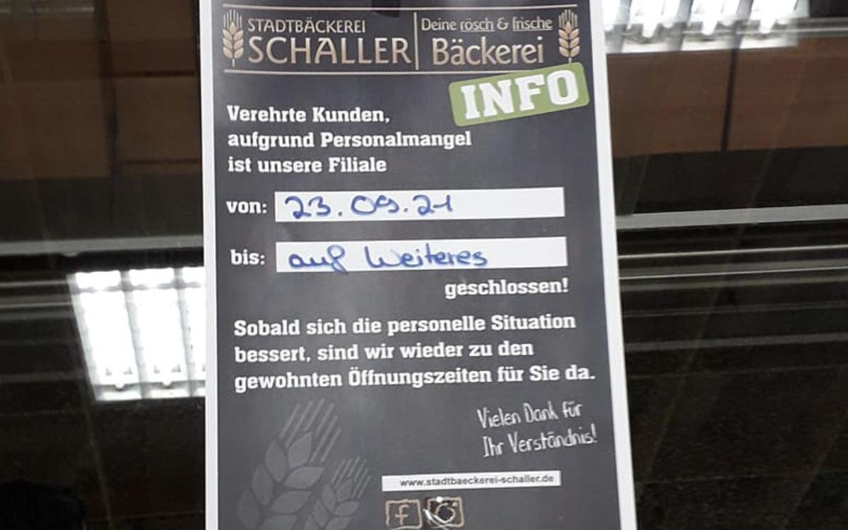 Die Filiale der Stadtbäckerei Schaller im Real in der Karl-von-Linde-Straße in Bayreuth hat seit Wochen geschlossen. Bild: privat